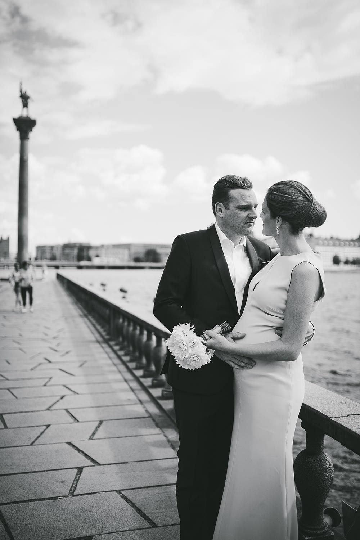 photographie elegante de mariage en blanc et noire