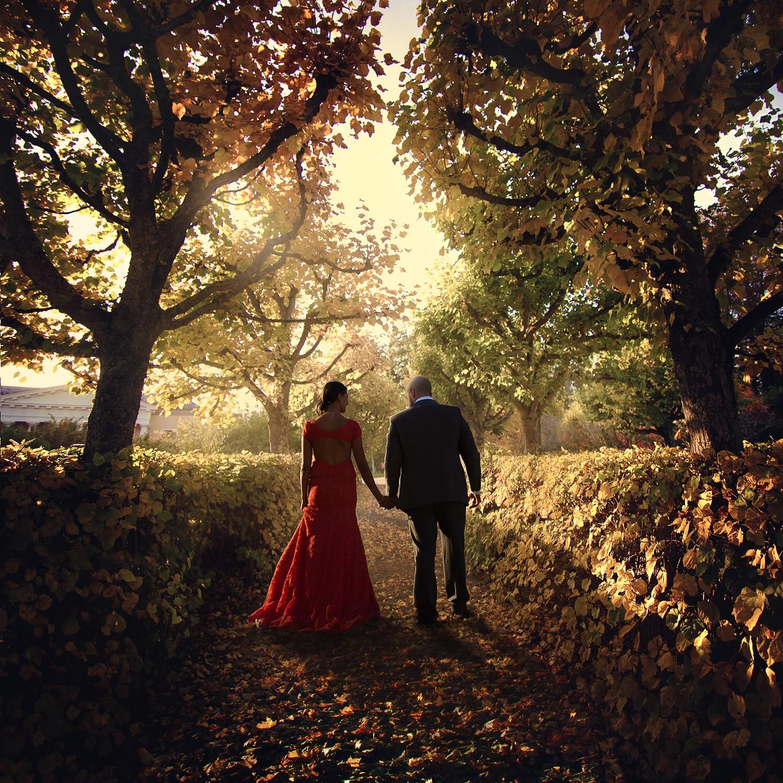 les mariés marchent sur le terrain avec le soleil en arrière-plan