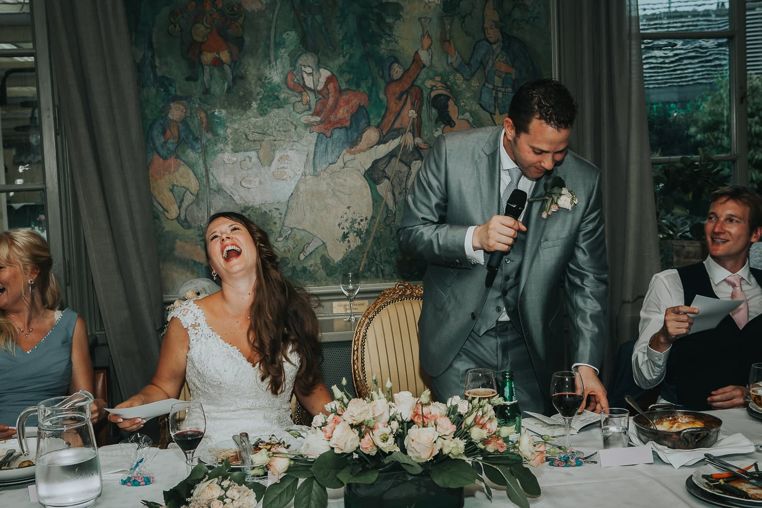 discours du marié pendant le dîner le jour du mariage