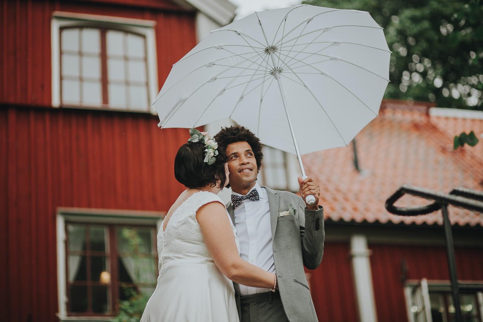 séance photo originale avec parapluies les jeunes mariés un jour de pluie